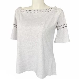 CYRUS Heather Gray Studded Bell Sleeve Tunic Top